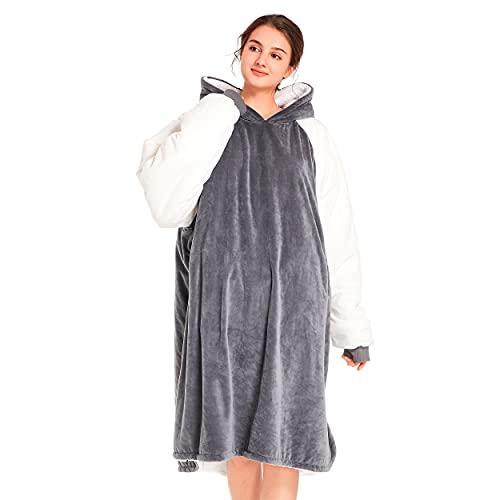 Winthome Wearable Blanket Hoodie for Women and Men, Cozy and Warm Sherpa Blanket Sweatshirt,...