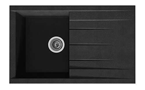 respekta HOUSTON80X50S Spüle, 60% Verbundmaterial aus Mineralstoffen und Glasfasern, 40% Kunstharz, Schwarz, 80 x 50 cm
