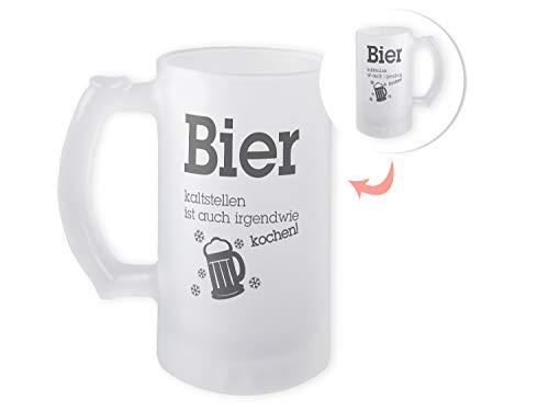 GRAZDesign Bierkrug Oktoberfest, Bierglas satiniert, Bier-Geschenke für Männer, Geburtstag, Motiv Spruch Lustig 470ml