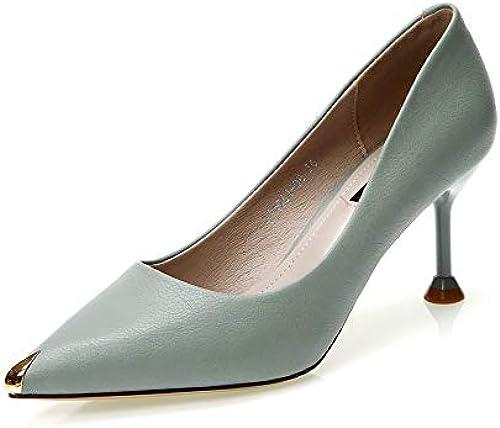 FLYRCX Metal Europeo Puntiagudo Tacones de Aguja Moda Simple Color a Juego Solo zapatos Damas zapatos de Trabajo