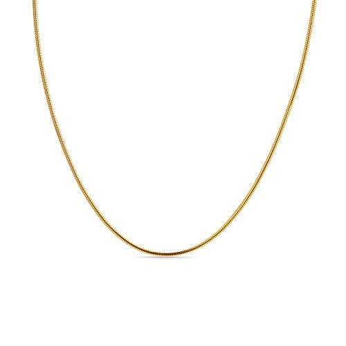 Miore Kette Damen Schlangen Halskette Gelbgold 9 Karat / 375 Gold, Länge 45 cm Schmuck