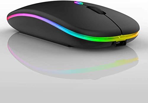 PIPRE Mus trådlös, trådlös musmatta, LED uppladdningsbar Bluetooth-mus (Bluetooth 5.1 2.4 G trådlös) ultratunn/tyst trådlös mus för PC-MacBook, bärbara datorer, surfplatta