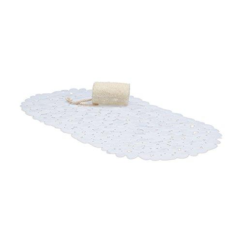Relaxdays Alfombra Bañera Antideslizante, Diseño Piedra, Alfombrilla Baño Ventosas, PVC, 1 Ud, 66,5 x 34,5 cm, Blanco