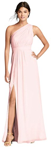 David's Bridal Long One-Shoulder Crinkle Chiffon Bridesmaid Dress Style F18055, Petal, 20