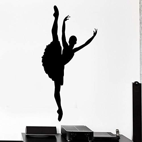 Tianpengyuanshuai muursticker van vinyl met ballerina-silhouet, muursticker, gymnastiek, dans, studio, meisjes, slaapkamer