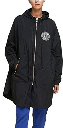 DKNY Damen Jacke mit Kapuze und Logo, Größe XL, Schwarz