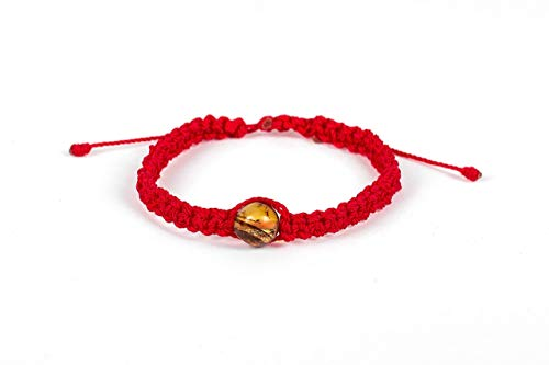Pulsera de ámbar con hilo trenzado en color rojo quemado colección Ala de Ángel