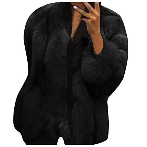 Neferlife Elegant Plush Coat,Women's Long-Sleeved Round Neck Solid Color Cardigan Long-Sleeved Plush Temperament Overcoat(A-Black,XXXXXL)