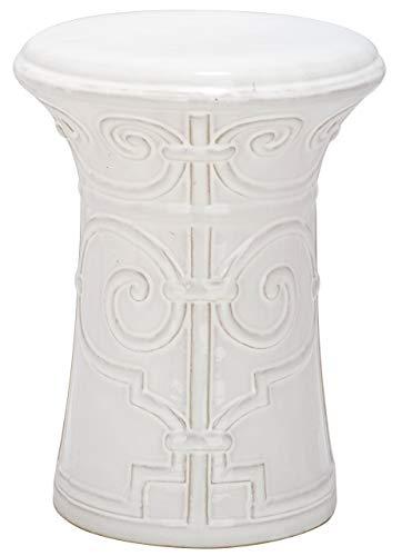 Safavieh Gartenhocker für Innen/Draußen, Glasierte Keramik, weiß, 30 x 30 x 39.37 cm