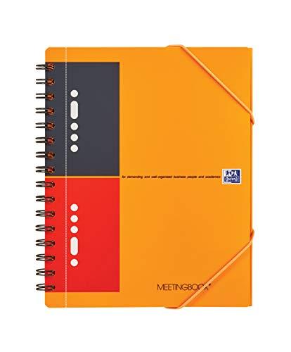 OXFORD 100103453 Meetingbook International A5 liniert 10-fach gelocht 2 in 1 Collegeblock und Gummizugmappe orange