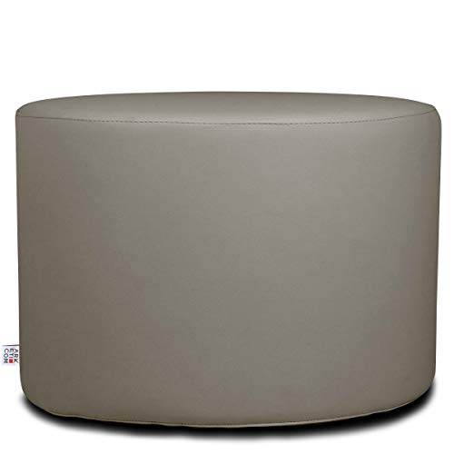 Arketicom Chill Pouf Ottoman Rond Repose Pied Tabouret Siege, Meubles Interieur Exterieur Design Made in Italy Puff Simili Cuir Tissu Fermeture Eclair, Nettoyage Facile Taupe Boue 55x55x45 cm