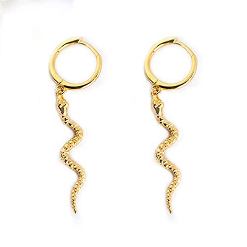Yuemuop Aretes de Serpiente Pendientes, Pendientes de Serpiente Estilo Punk, Pendientes de Serpiente de Aleación para Damas Cumpleaños (oro)