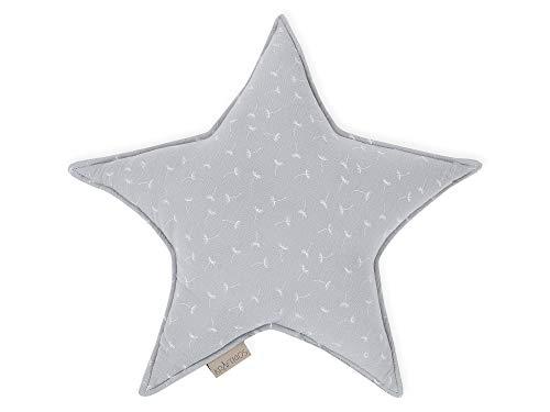 KraftKids Sternkissen Musselin grau Pusteblumen, 45 cm großes Kuschelkissen, Deko-Kissen für das Kinder-Zimmer