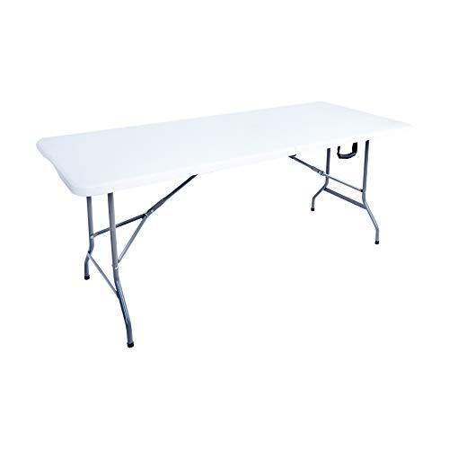 Rebecca Mobili Tavolo Richiudibile, Tavoli A Valigetta Bianco, Plastica Acciaio, Per Campeggio Giardino, Feste Sagre - Misure: 74 x180 x 74 cm (HxLxP) - Art. RE6579