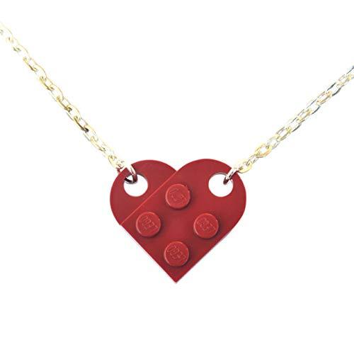 SJP Cufflinks Love Heart Necklace Handmade from Lego Plates (Dark RED) Wedding, Girlfriend, Valentines, Birthday, Ladies Jewellery Gift