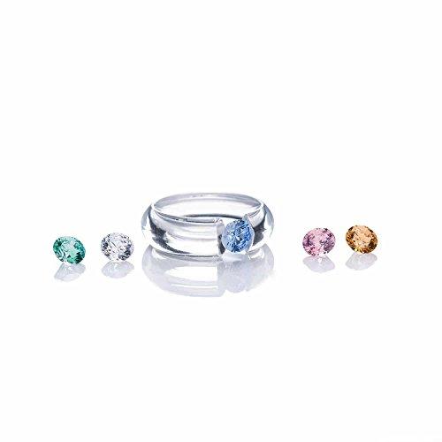 CLIX Wechselring Spannring Ring für Damen aus Polycarbonat | wechselbare Zirkonia von Swarovski