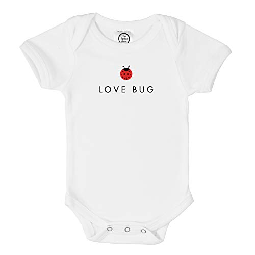 The Spunky Stork Baby Girl Ladybug Love Bug Organic Newborn Infant Bodysuit (0-3M) White