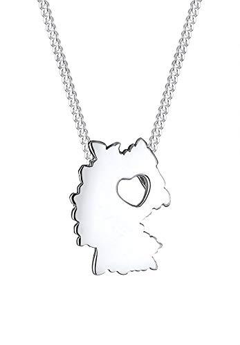 Elli Halskette Länderumriss Deutschland Herz 925 Silber
