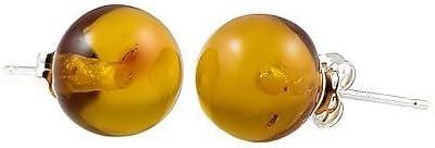 Trustmark 14K White Gold 8mm Natural Baltic Honey Amber Ball Stud Post Earrings, Anya