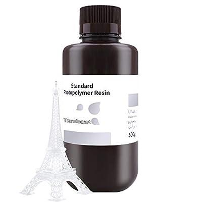 ELEGOO 3D Printer Rapid Resin, 405nm LCD UV-Curing Resin Standard Photopolymer Resin for LCD 3D Printing Translucent 500G