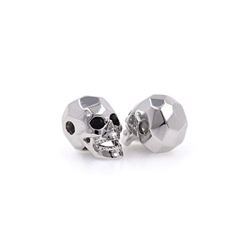 Charms Skull Head Beads for Men Original Bracelet DIY Jewelry Making 8x13mm (10Pcs, Silver)