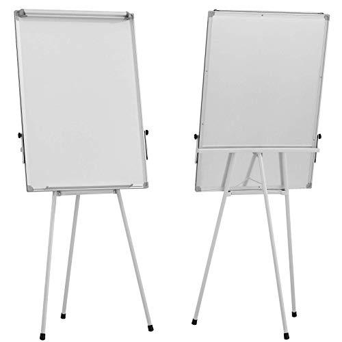 Flipchart – 60 x 90 cm, höhenverstellbar, Staffelei, Stiftablage, mit zahlreichem Zubehör - Magnetisches Whiteboard, Magnettafel, Präsentationstafel, weiße Magnettafel