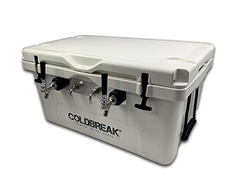 Coldbreak Jockey Box, 2 Taps, Roto Molded 60QT, Front Inputs, Steel Shanks, Includes Stainless Faucets (100' Coils), White