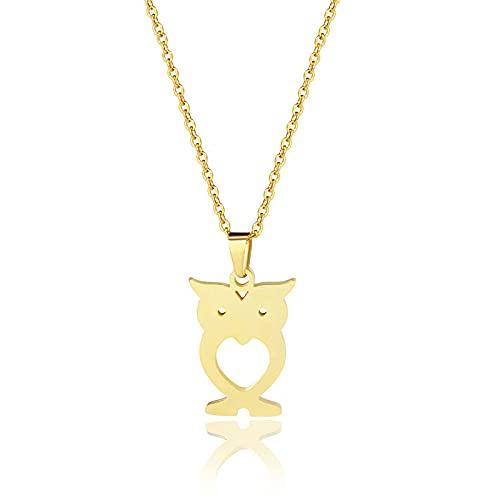 YQMR Colgante Collar para Mujer,Elegante Collar De Mujer Grabado A La Moda Búho Hueco Animal Colgante De Oro Joyería Mamá Cumpleaños Amistad Familia