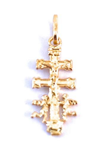 Colgante Cruz de Caravaca en Plata de Ley Cubierta de Oro de 18kt