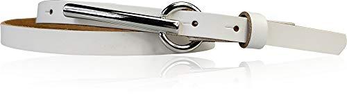 FRONHOFER schmaler Damengürtel 1,5 cm schmal, mit 8 cm langer silberfarbiger Gürtelschnalle Gürtel Damen nickelfrei 17915, Größe:Körperumfang 90 cm / Gesamtlänge 105 cm, Farbe:Weiß