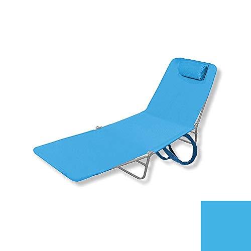 Lounge Folding Metal Chaise w/Head Rest (Light Blue) Pkg/1