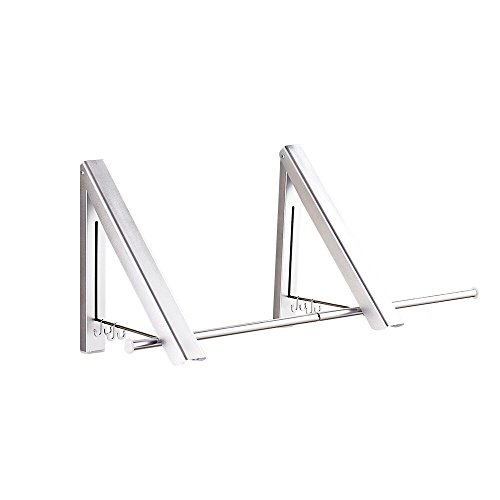 Pagetoc Aluminum Folding Hanger,Silver Wall Mounted Retractable Clothes Hanger Laundry Drying Rack with four Hooks for Room Attic Garage Indoor and Outdoor2 Racks