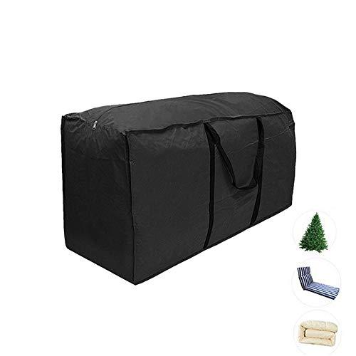 Housses de coussin d'extérieur Sac de rangement meuble 210D Résistant à l'eau jardin Patio siège couette arbre de noël zippé housse de protection rangement porter sac à main noir (L: 173*76*51cm)