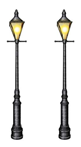 Beistle Jointed Cardstock Paper Lampposts 2 Piece Mardi Gras Christmas Party Supplies Fake Street Light Home Wall Decor, 6', Black/Yellow/White