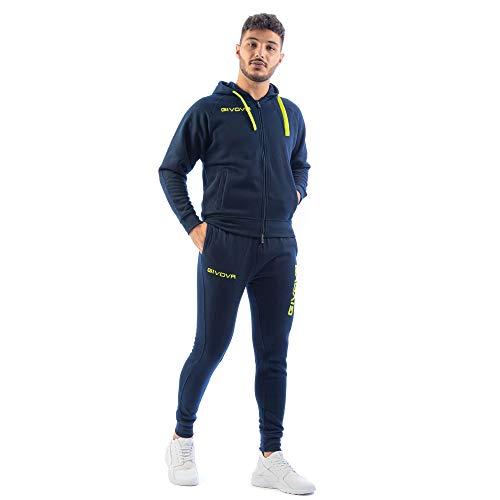 Perseo Sport Tuta Uomo Cotone Felpato Cappuccio Givova (L, Blu/Giallo Fluo)
