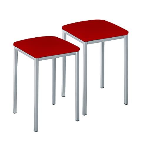ASTIMESA Dos Taburetes de Cocina Cuadrado Polipiel Rojo, Altura de Asiento 45 cm