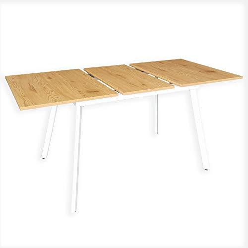 B&D home - Esstisch ausziehbar 120-160x80 cm | Holztisch in Honig Eiche | Metallgestell weiß