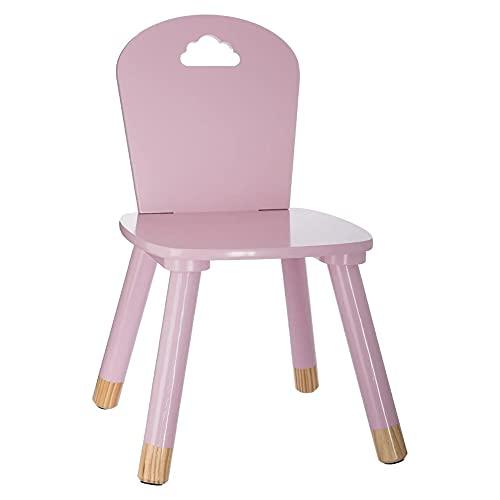 Chaise en bois pour enfants - Décor Nuage - Coloris ROSE