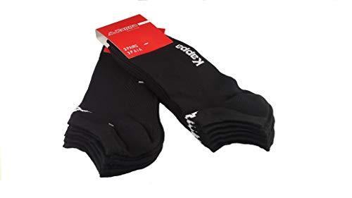6 paia calzini KAPPA , calzini fantasmini invisibili ,calzini sneakers in cotone ,modello unisex, vari assortimenti. (42-44, 6 paia nero)