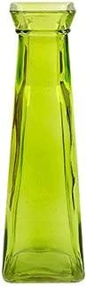 Green Short Glass Bud Vase, 7.75