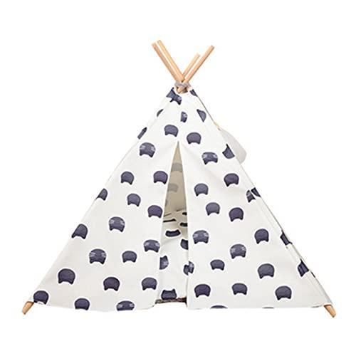 QiHaoHeji Tipi de Mascotas Cama para Perros Teepee/Tienda para Perros y Gatos - Cama de Perro acogedora con Estilo con Almohadilla Gruesa (Color : White, Size : 64×65cm)