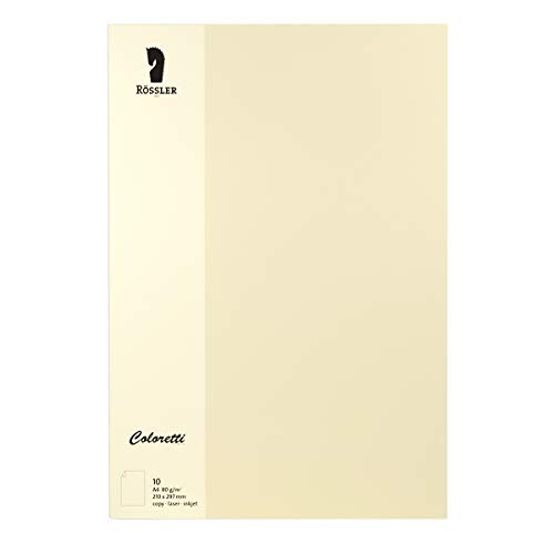 Rössler 220701512 Coloretti Briefpapier, 80g/m², DIN A4, 10 Blatt, creme