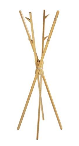 WENKO Standgarderobe Mikado aus Bambus, Bambus, 66.5 x 170 x 66.5 cm, Braun