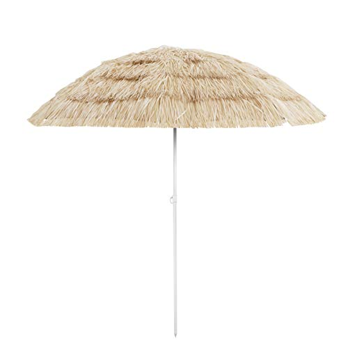US PIEDLE 6.5FT Outdoor Tiki Umbrella Hula Tropical Palapa Hawaiian Patio Straw Raffia with 8 Ribs, Natural Color
