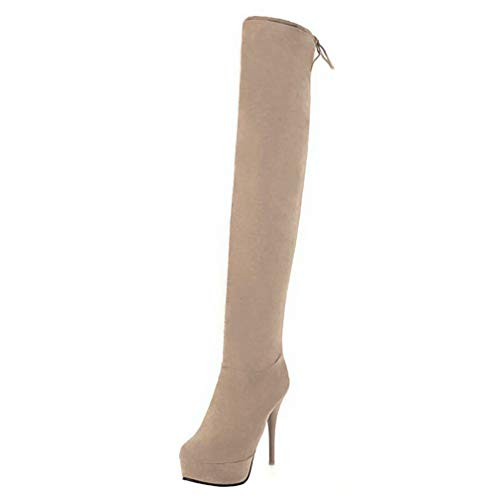 Overknee Stiefel High Heel Plateau Stiletto Boots mit Schnürung und 12cm Absatz Hohe Stiefel Herbst Winter Schuhe(Beige,39)