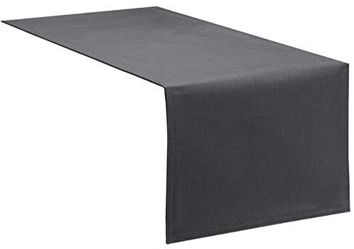 Tischläufer Tischband Fleckschutz Lotus Effekt Garten Leinenoptik abwaschbar in 3 Größen und 14 Farben Farbe: anthrazit 33x160 cm