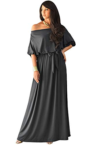 KOH KOH Plus Size Womens Long Sexy One Off Shoulder Flowy Casual 3/4 Short Sleeve Cocktail Wedding Party Guest Maternity Gown Gowns Maxi Dress Dresses, Dark Gray Grey 2XL 18-20