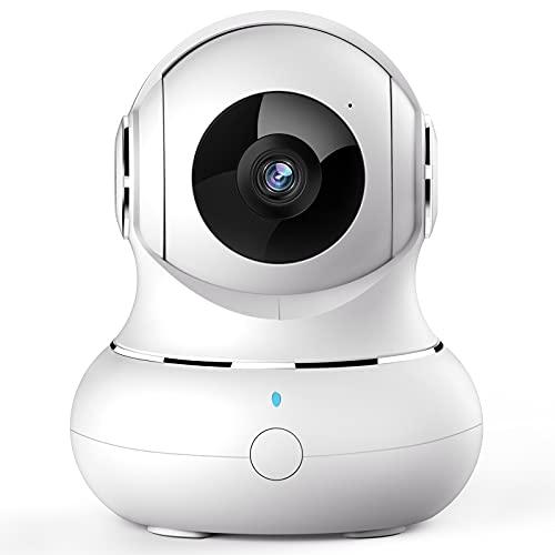 WLAN IP Kamera, [2021 Neu] Crzwok Überwachungskamera innen 360 Grad H&ekamera mit Bewegungserfolgung, Babyphone mit Kamera mit 2-Wege-Audio,IR Nachtsicht für Haustier, kompatibel mit Alexa