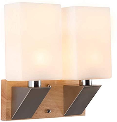 Parete industriali, Applique da parete moderna comodino vetro quadrato in legno in ferro battuto doppia testa E14 piccola lampada da parete per barretta da parete ristorante hotel decorazione dell'hot