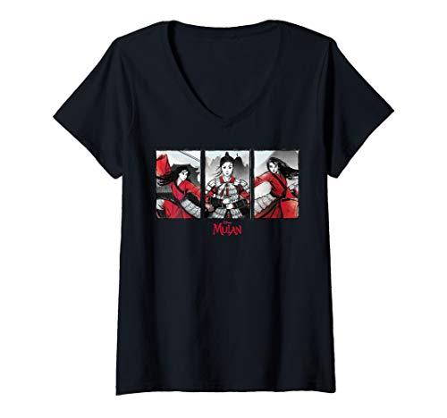 Womens Disney Mulan Live Action Watercolor Panels V-Neck T-Shirt